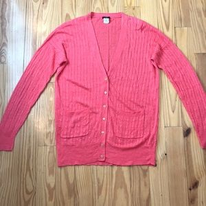 J.Crew Coral Linen Cable Knit Button Down Cardigan